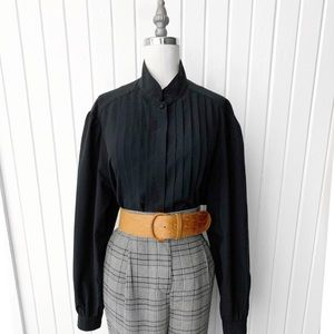 Vintage Black Pleated Front Button Down Top